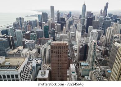 View of Chicago cityscape, Chicago, USA, 28 November 2017