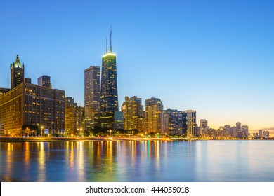 View of Chicago downtown skyline at sunset