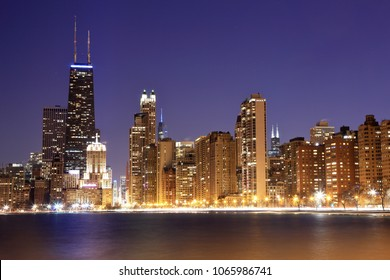 View of Chicago at dusk.  Chicago skyline after sunset.
