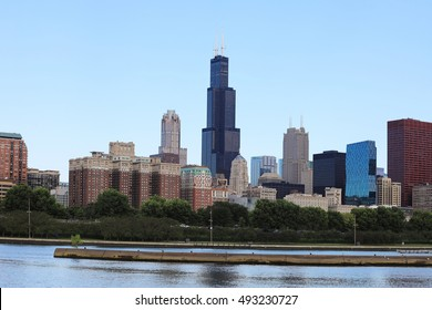 A View of Chicago skyline on a sunny day