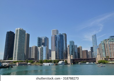view of Chicago skyline and river