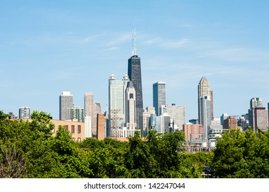 View of the Chicago skyline from the west