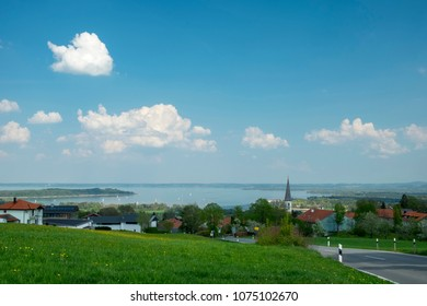 View to Chiemsee in Bavaria, Germany in spring