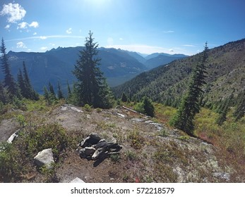 View of Chilliwack River Valley from an informal campground halfway up Flora Peak, Chilliwack Lake Provincial Park, British Columbia, Canada