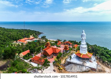 View of Chinese temple on Phu Quoc island ,Vietnam. From aerial