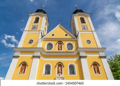 View of Chirch (Barocke Pfarrkirche) St Johann, Austrian Alps, Tyrol, Austria, Europe 1-6-2019
