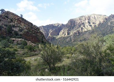 View of Chisos Mountains from the Chisos Basin in Big Bend National Park, in Texas