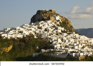 View of Chora, the main settlement and capital of the island of Skyros, in Sporades complex, central Greece. Atlhough the island does not belong to Cyclades, its architecture is very alike.