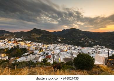 View of Chora village from the hill above, Skyros island, Greece.