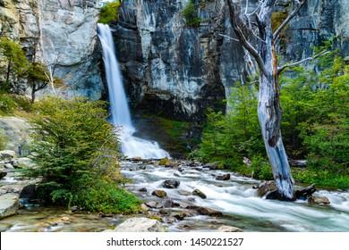 View of Chorrillo del Salto Waterfall at Los Glaciares National Park in El Chalten, Argentina