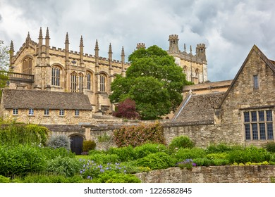 The view of Christ Church buildings: Great Dining Hall and Bodley Tower from the Memorial Gardens. Oxford University. England