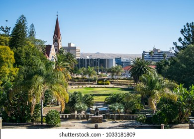 View of Christ Church and downtown Windhoek from Parliament Park - Windhoek, Namibia [Africa]