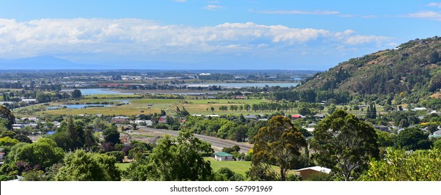 View of Christchurch city from Mount Pleasant in Canterbury, New Zealand