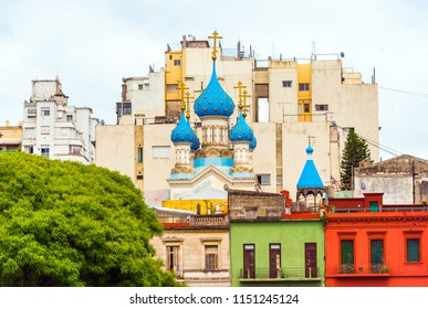 View of the Christian church in the center of the city, Buenos Aires, Argentina. Copy space for text