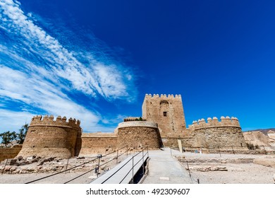 View of the Christian part of the Alcazaba in Almeria (Almeria Castle) on a beautiful day, horizontal, Spain