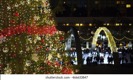View of Christmas tree at Nathan Phillips square in Toronto, ON