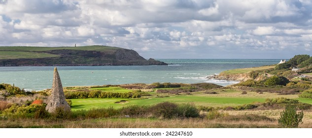 The View From the Church Across the Links Golf Course to the Sea and Coastline Beyond at St Enodoc, Cornwall, UK.