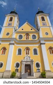 View of Church (Barocke Pfarrkirche) St Johann, Austrian Alps, Tyrol, Austria, Europe 1-6-2019