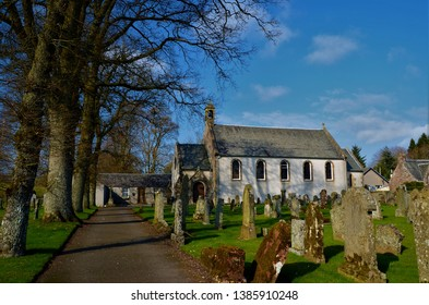 A view of the church building and graveyard in the Perthshire town of Braco near Gleneagles.