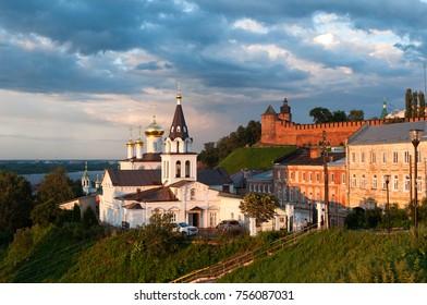 View of the Church Of Elijah The Prophet on the background of the Kremlin, Nizhny Novgorod, Russia