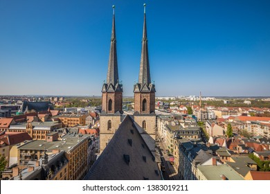 View of Church of Halle from above in Germany