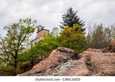 View of a church, located in Sacro Monte di Belmonte's complex, Cuorgnè, Italy
