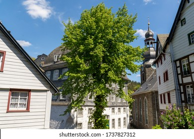 View of the church in Monschau, Germany