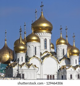 View of the church of the Moscow Kremlin from the opposite bank of the Moscow River on a clear winter day. The Cathedral of the Annunciation.