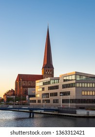 View to a church in Rostock, Germany.