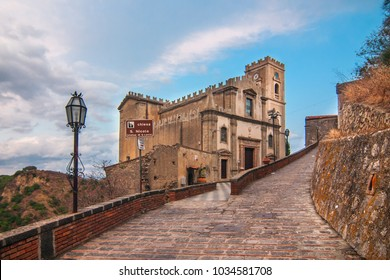 A view of the church S. Nicola of the village of Savoca, Sicily, Italy. The town was the location for the scenes set in Corleone of Francis Ford Coppola's The Godfather.