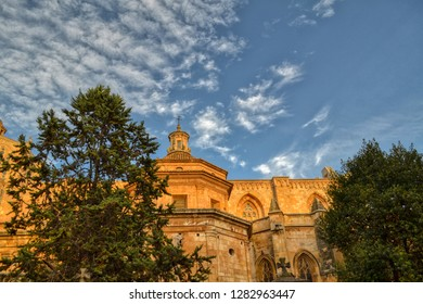 View of Church in Sitges, Tarragona, Spain. Old gothic church with blue sky on the background. Historical part of the Tarragona town.