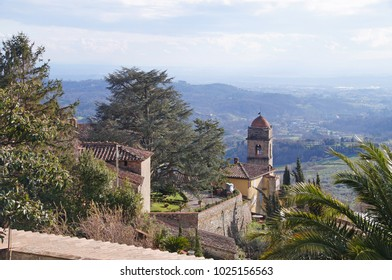 View to the church in the small mountain village of Collodi in Tuscany, Italy