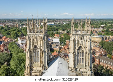 View of church spires and the city of York, England from atop York Minster