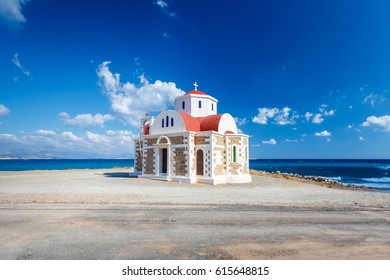 View of the Church standing on the coast. Crete. Greece.