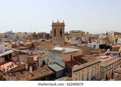 view of church tower and rooftops in valencia
