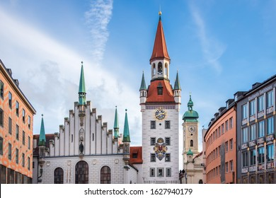 View of Church Towers and Buildings at Downtown Marienplatz in Munchen, Bavaria, Germany