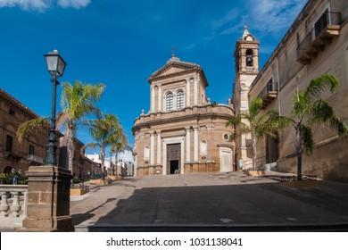 A view of the church of the village of Sambuca di Sicilia, Italy. Sambuca di Sicilia is a municipality in the Province of Agrigento in the Italian region Sicily,