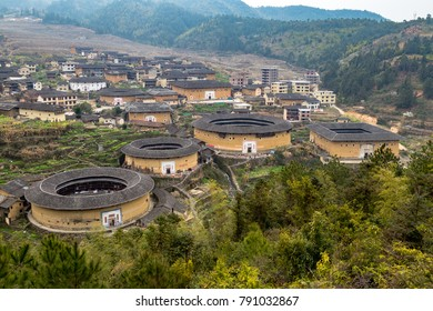 View of ChuXi Cluster of Tulou - Fujian province, China. The tulou are ancient earth dwellings of the Hakka people