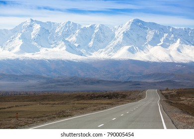 View of Chuysky Trakt on a background of the mountain North-Chuya ridge of Altai Republic, Russia.