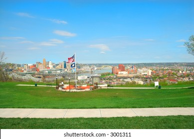 View Of Cincinnati OH Covington Kentucky From Devou Memorial Overlook. Built at the highest point of Devou Park the overlook features a breathtaking view of the Ohio River and the Cincinnati skyline.
