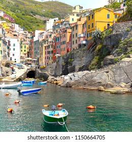 view of Cinque Terre region village Riomaggiore