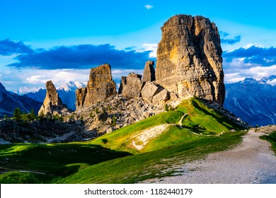 View of the Cinque Torri in Nuvolao Group of the Italian Dolomites in the evening at the Province of Belluno Italy