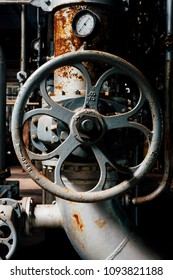 A view of a circular handle inside the coal power plant at the long abandoned Indiana Army Ammunition Plant, which produced black powder and mostly closed after the Vietnam War.