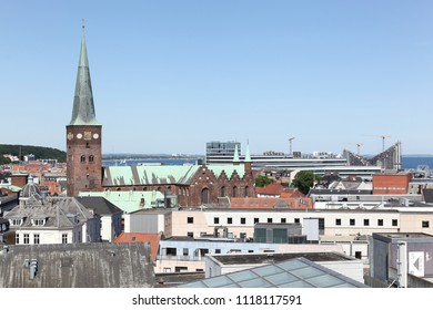 View of the city of Aarhus in Denmark from a rooftop