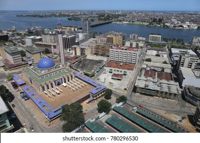 view of the city of abidjan in ivory coast near the mosque. The picture has been taken from above on april 2017.