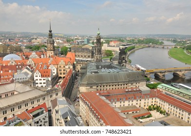 View of city from above, Dresden (Germany), towers of historic buildings and streets