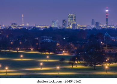 View of the city after sunset from Primrose Hill park in London, England, UK.