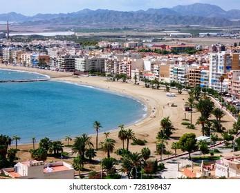 View of the city of Aguilas from San Juan de las Aguilas castle, Almeria,Spain