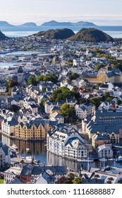View of the city of Alesund from the top of the mount Aksla, More og Romsdal, Norway.