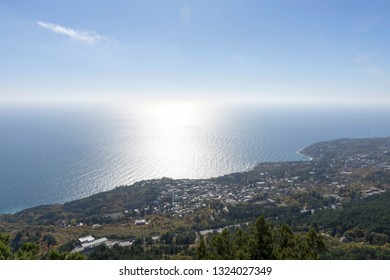 View of the city of Alupka bird's-eye view. Crimea